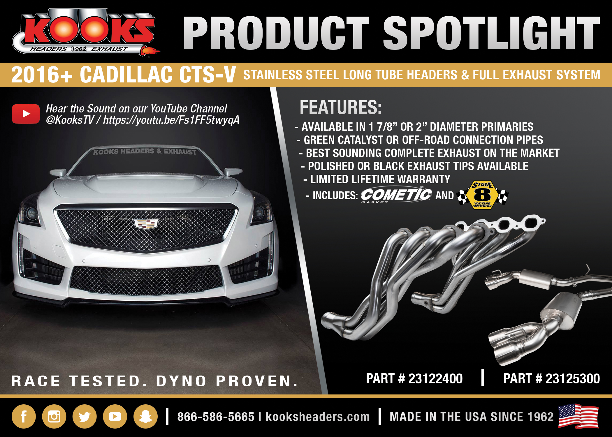 Kooks Cadillac CTS-V Long Tube Headers & Exhaust System