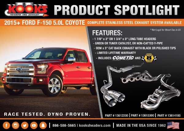 kooks 2015+ ford f-150 5.0l coyote stainless steel exhaust system